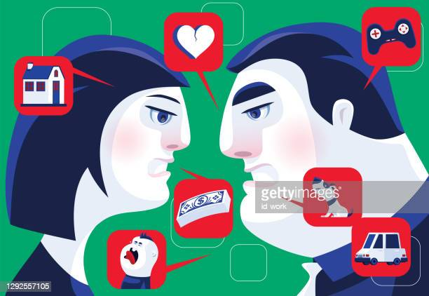 displeased couple arguing - family fighting cartoon stock illustrations