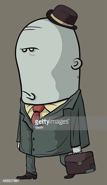 displeased man finish working and go home - ugly bald man stock illustrations