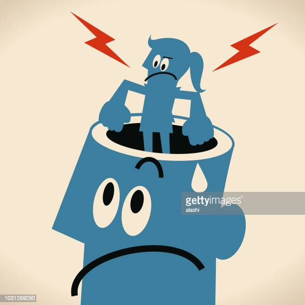 displeased woman standing on giant man's opened head - girlfriend stock illustrations, clip art, cartoons, & icons