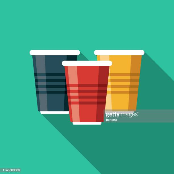 disposable beer cups flat design icon - disposable cup stock illustrations