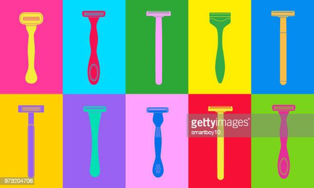 disposable plastic razors - water pollution stock illustrations