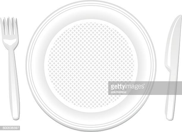 Disposable plate, knife and fork