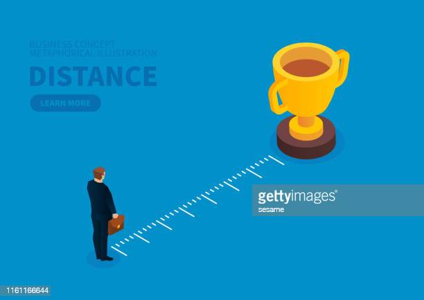 distance between businessman and trophy - letrac stock illustrations