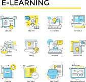 Distance learning concept icons.