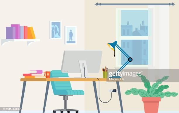fernlern-home-büro - schreibtisch stock-grafiken, -clipart, -cartoons und -symbole