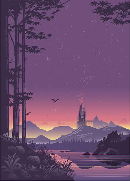 distant city landscape at sunset - fantasy stock illustrations