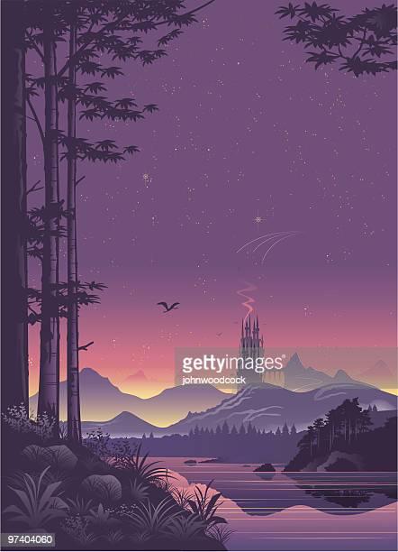 distant city landscape at sunset - castle stock illustrations, clip art, cartoons, & icons