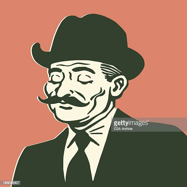 illustrations, cliparts, dessins animés et icônes de élégant homme avec moustache - moustache