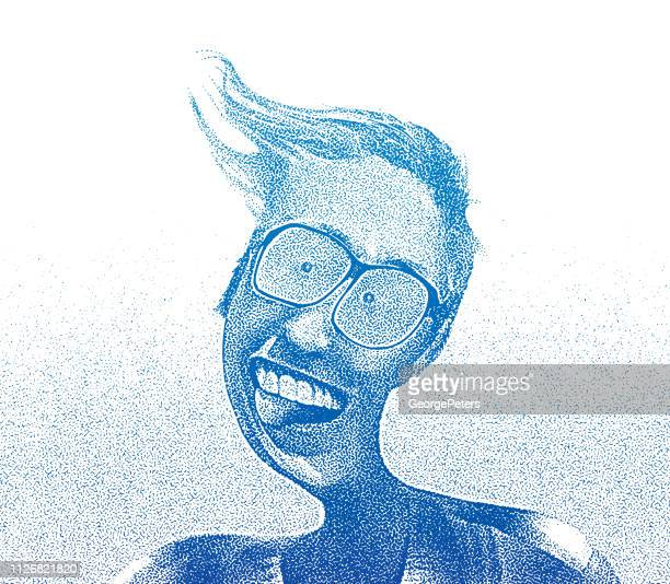 Distorted image of a cheerful senior man