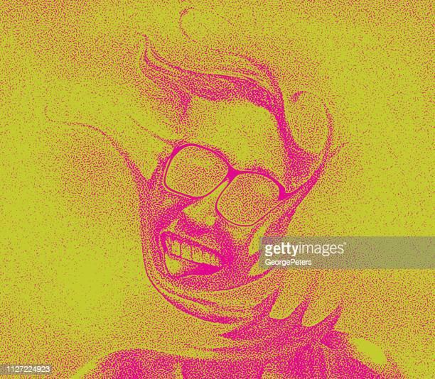 ilustrações, clipart, desenhos animados e ícones de imagem distorcida de um homem alegre sênior - intoxicação por cannabis