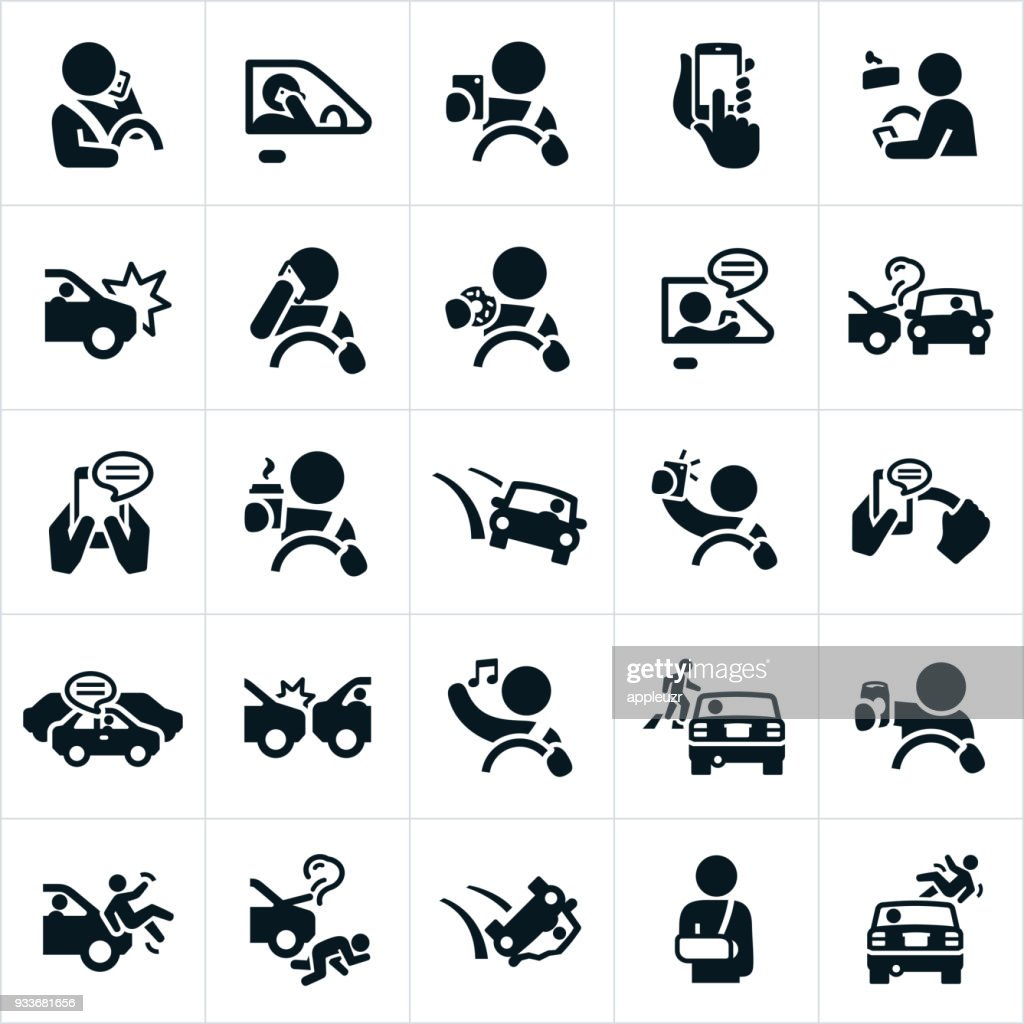 Distracted Driving Icons
