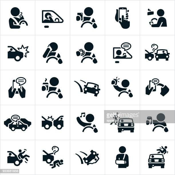 distracted driving icons - land vehicle stock illustrations