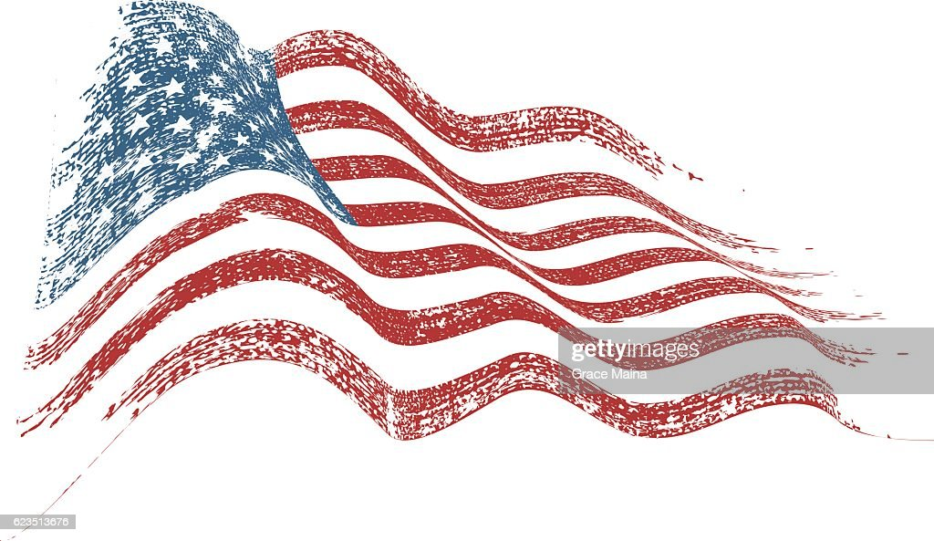 Distressed American Flag In The Wind Illustration - VECTOR