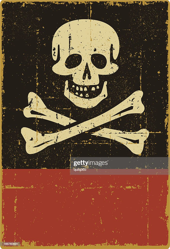 Distressed Jolly Roger Sign - Copy Space