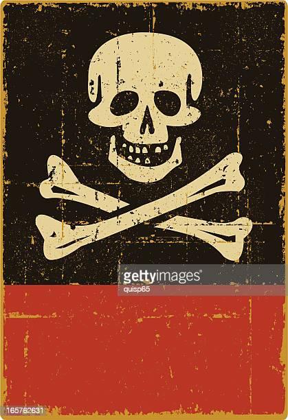 ダメージ加工ジョリーロジャーサイン-コピースペース - 海賊旗点のイラスト素材/クリップアート素材/マンガ素材/アイコン素材
