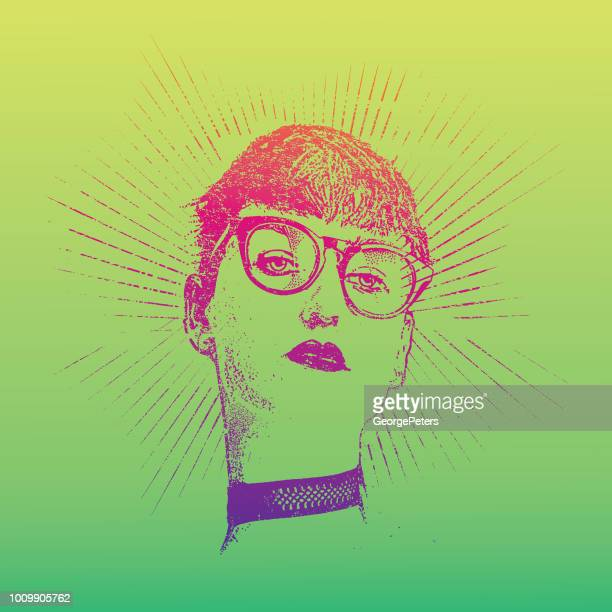 distressed, retro portrait of a hipster young woman. - me too social movement stock illustrations, clip art, cartoons, & icons