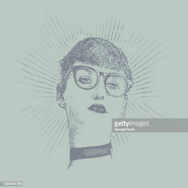 distressed, retro portrait of a hipster young woman. - bisexuality stock illustrations, clip art, cartoons, & icons