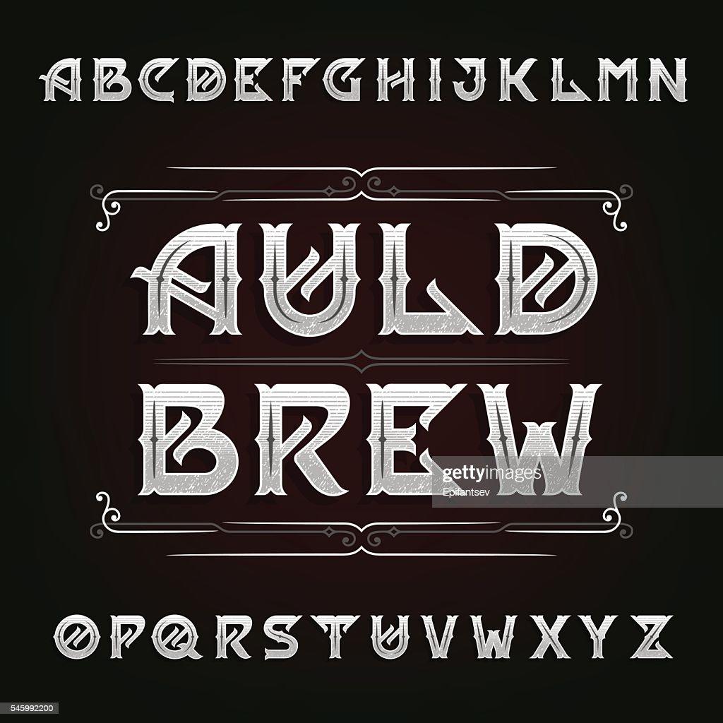 Distressed vintage alphabet vector font