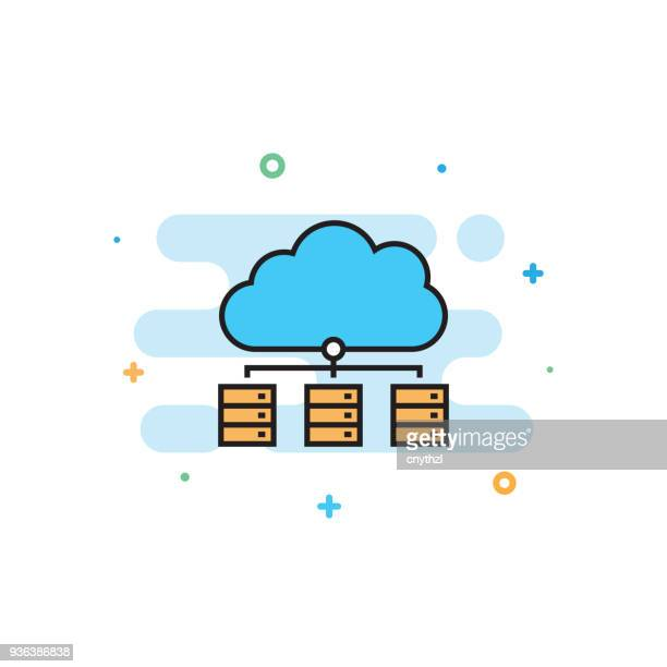 distributed database flat line icon - cloud computing stock illustrations