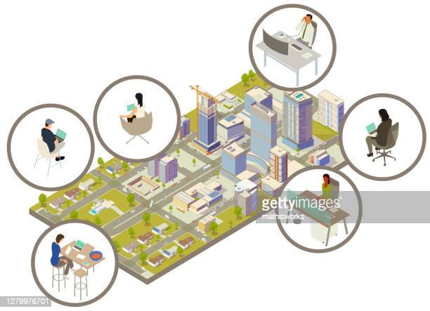 分散型労働力のイラスト - 町点のイラスト素材/クリップアート素材/マンガ素材/アイコン素材