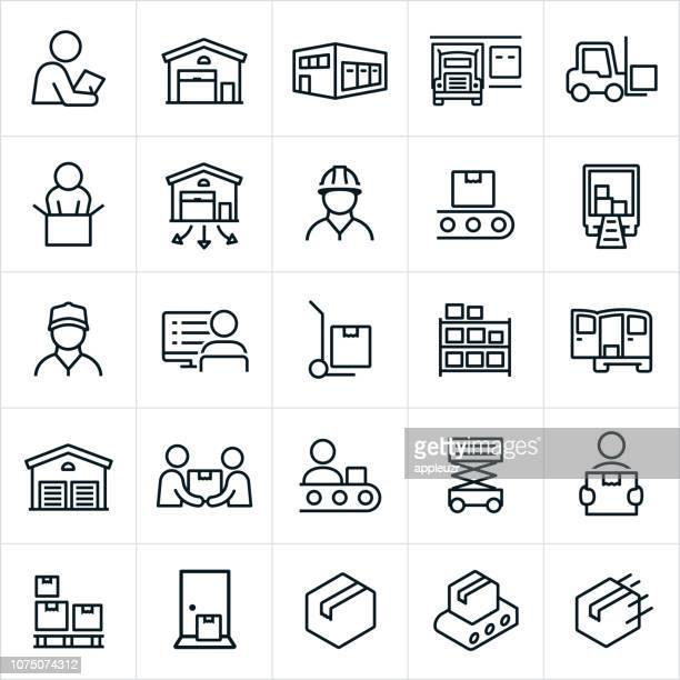 distribution warehouse icons - commercial land vehicle stock illustrations