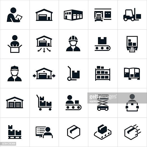 distribution warehouse icons - storage compartment stock illustrations