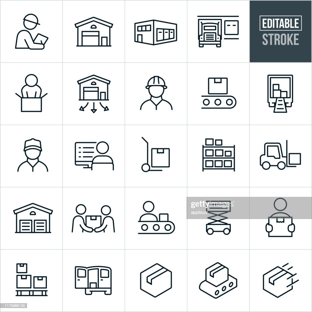 Distribution Warehouse Thin Line Icons - Bearbeitbarer Strich : Stock-Illustration