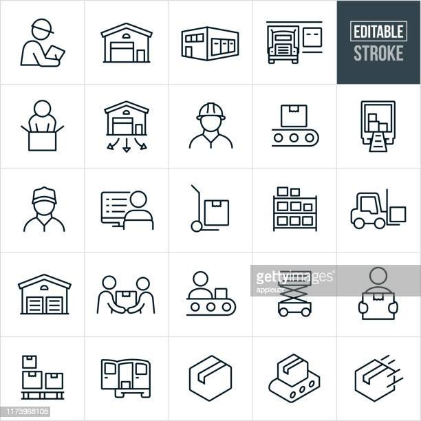 distribution warehouse thin line icons - editable stroke - plant stock illustrations