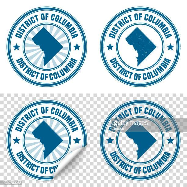 district of columbia - blue sticker and stamp - map and name - id card template stock illustrations