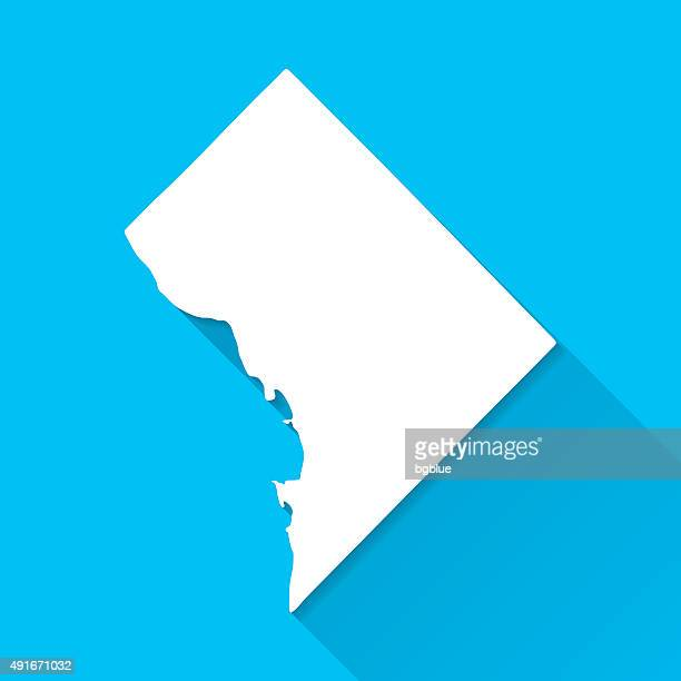 District of Columbia Map, Blue Background, Long Shadow, Flat Design