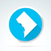 District of Columbia map icon, Flat Design, Long Shadow