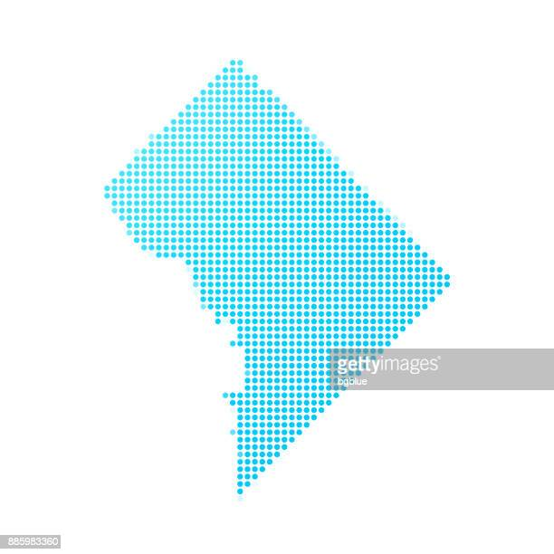 District of Columbia map of blue dots on white background