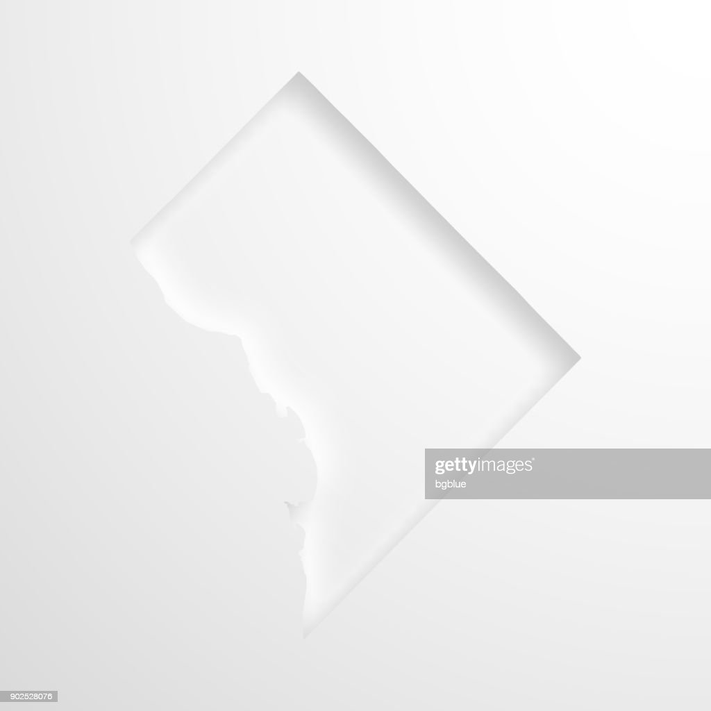 District of Columbia map with embossed paper effect - Blank background