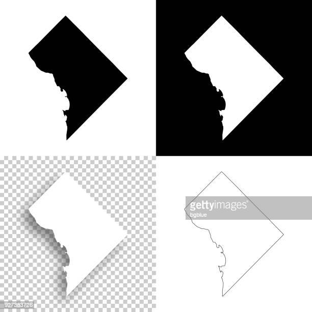 District of Columbia maps for design - Blank, white, black backgrounds