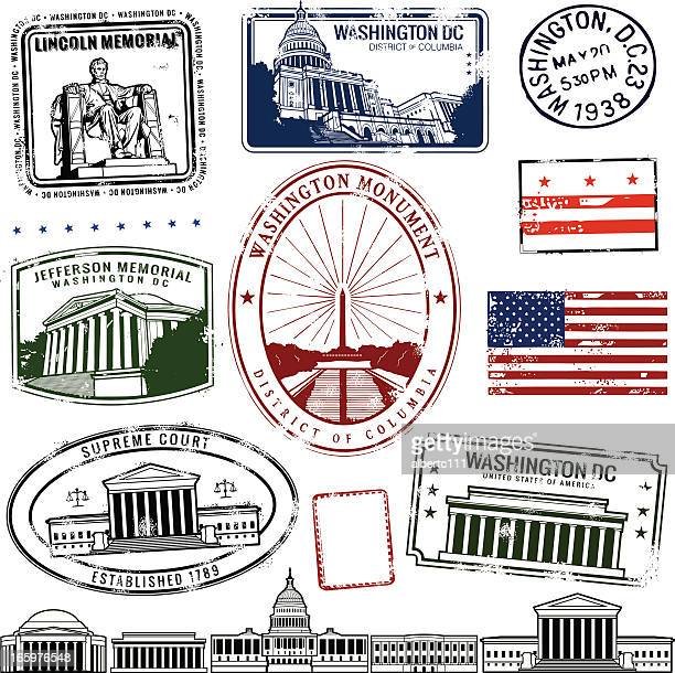 District of Columbia stamps on white background