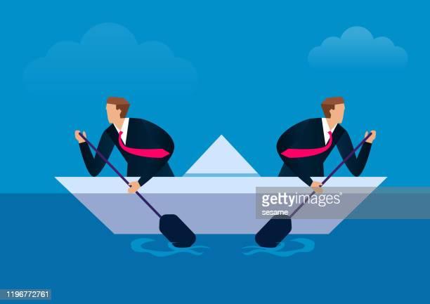 disunited, two businessmen paddling in opposite directions - frustration stock illustrations