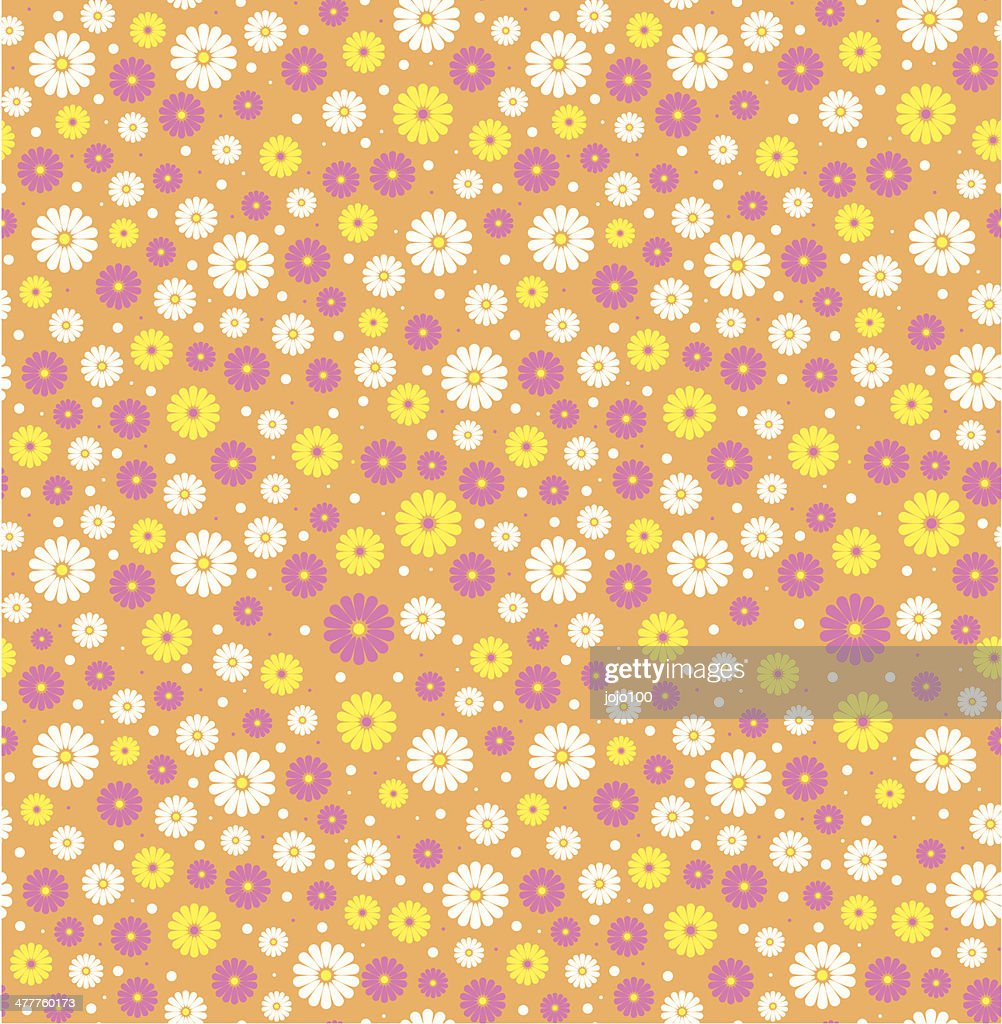 Ditsy Daisy Flower Pattern in a Repeat