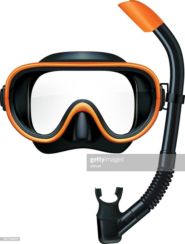 Dive mask and snorkel for professionals. Vector illustration