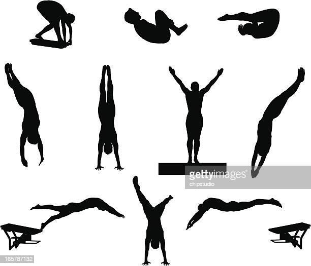 illustrazioni stock, clip art, cartoni animati e icone di tendenza di silhouette di immersione - nuoto