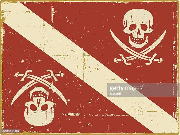 ダイバーダウン海賊旗 - 海賊旗点のイラスト素材/クリップアート素材/マンガ素材/アイコン素材