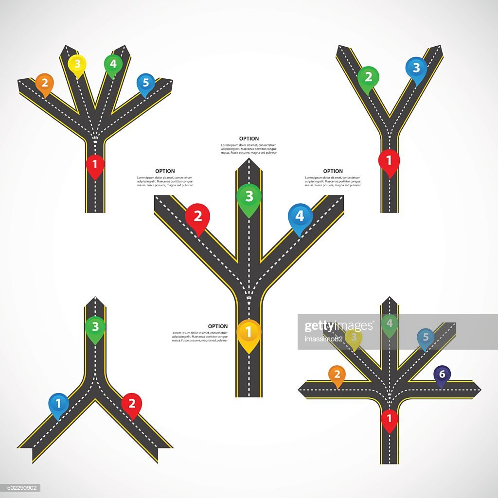 Diverging and converging roads Set - Vector infographics