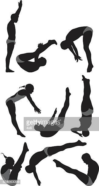divers in various actions - gymnastics stock illustrations