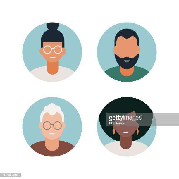 diverse adult avatars full-color vector icon set - senior citizen clipart stock illustrations
