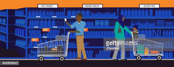 Diverse and modern shopping concept with african american man and muslim mother