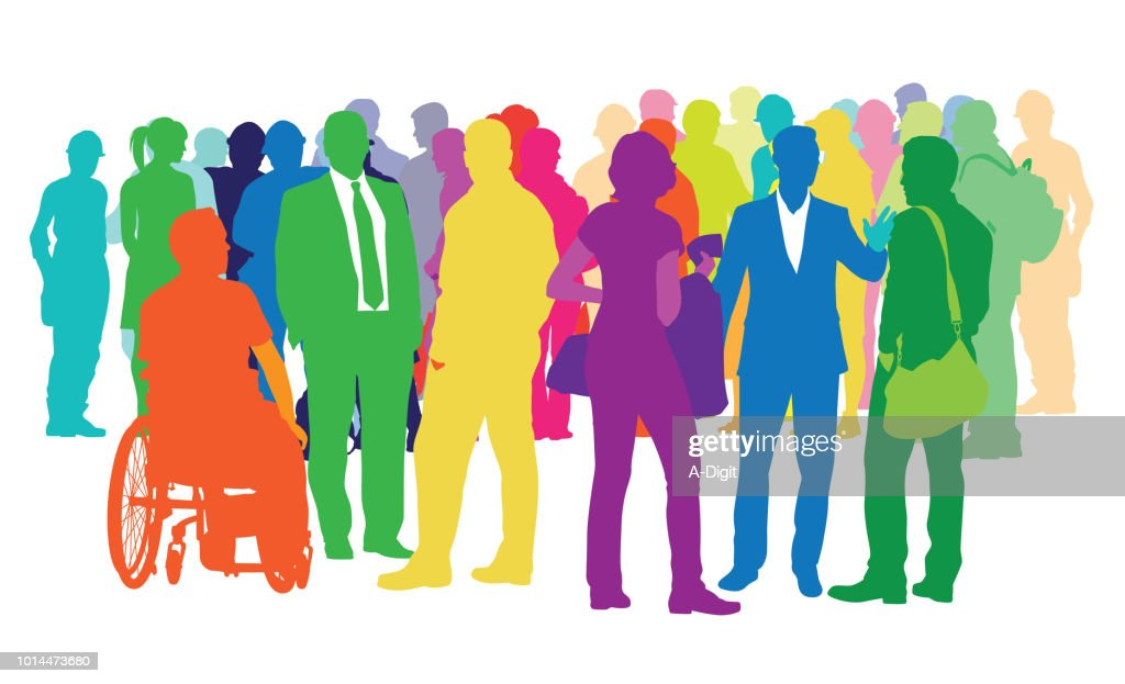 Diverse Crowd Of Multicoloured People : stock illustration