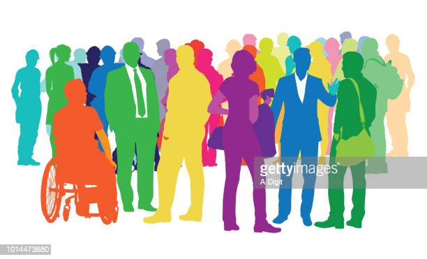diverse crowd of multicoloured people - variation stock illustrations