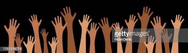 diverse graphic raised hands - ethnicity stock illustrations