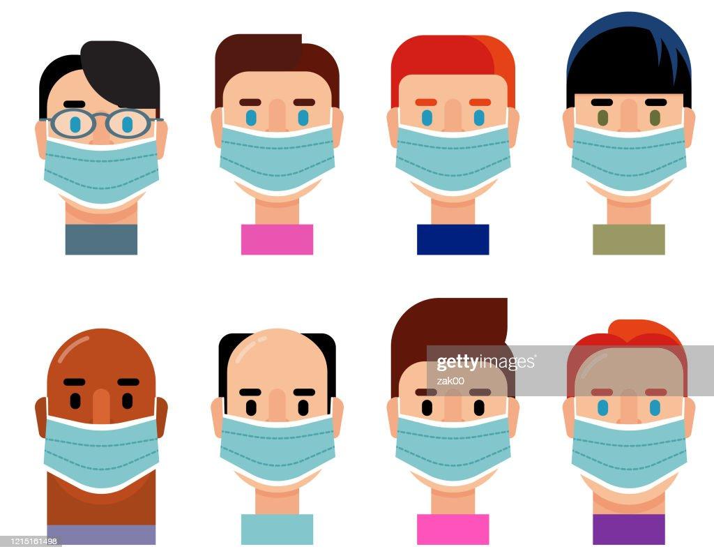 医療マスクを着用した多様なグループキャラクターアイコンセット : ストックイラストレーション