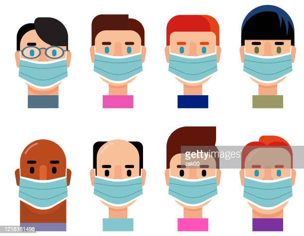 diverse group character icon set wearing medical masks - illness prevention stock illustrations