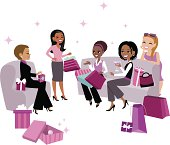 Diverse Group of Five Women Vector Cartoon Illustration